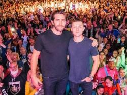 Jake Gyllenhaal, left, with Tom Holland, right.
