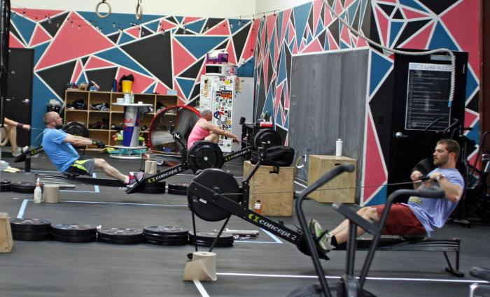 Members workout at Bridge View CrossFit in Jeffersonville, Ind.