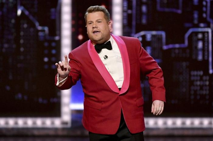 James Corden speaking at the 73rd annual Tony Awards.