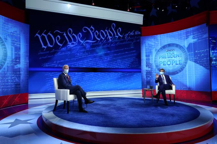Democratic presidential candidate former Vice President Joe Biden participates in a town hall with moderator ABC News anchor George Stephanopoulos at the National Constitution Center in Philadelphia.