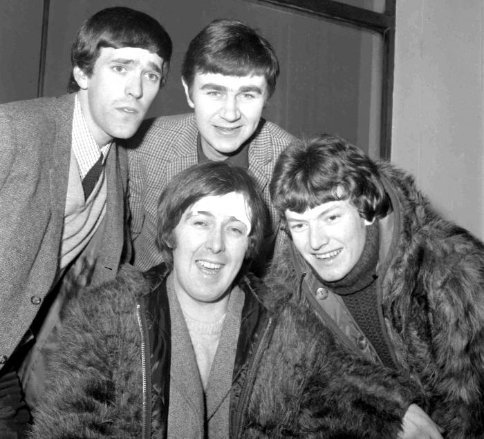 Members of the band, the Spencer Davis Group, from top left: Muff Winwood, Pete York and Steve Winwood and Spencer Davis, foreground. British guitarist and bandleader Spencer Davis.