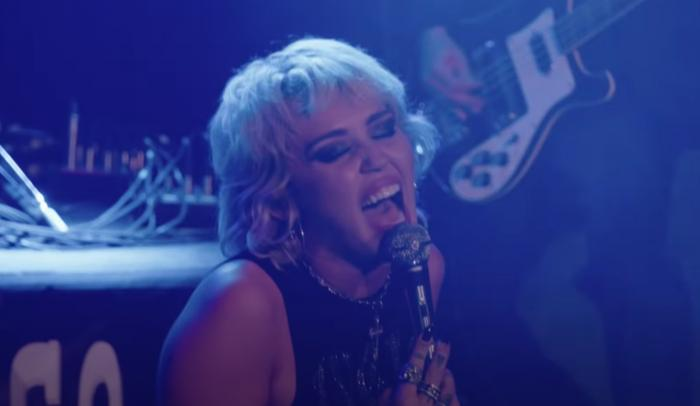 "Miley Cyrus performing the Cranberries' ""Zombie."""