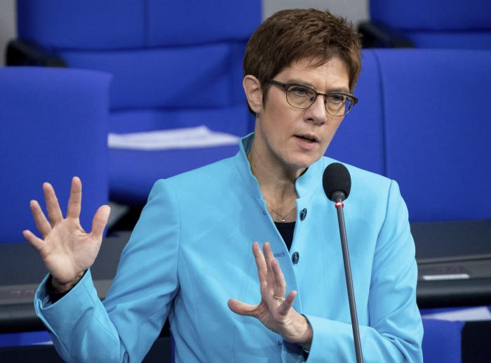 German Defence Minister Annegret Kramp-Karrenbauer speaks during a questioning of the Federal Government as part of a meeting of the German federal parliament, Bundestag, at the Reichstag building in Berlin.