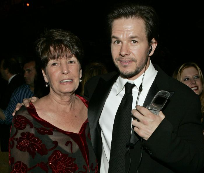 """In this Sunday, Jan. 16, 2005, file photo, Mark Wahlberg, executive producer of the HBO series """"Entourage,"""" and his mother Alma pose at the HBO party after the 62nd Annual Golden Globe Awards, in Beverly Hills, Calif."""