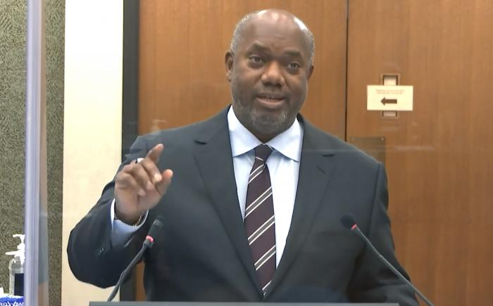 Prosecutor Jerry Blackwell speaks on Thursday, April 15, 2021, in the trial of former Minneapolis police officer Derek Chauvin