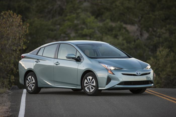 This photo provided by Toyota shows a 2016 Toyota Prius, a hybrid hatchback car that's one of the most fuel-efficient vehicles on sale today